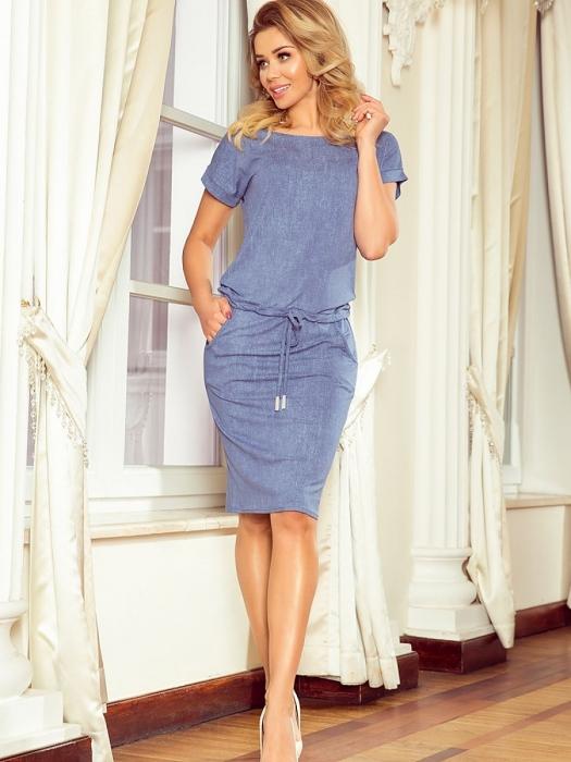 Rochii midi sport | Rochie midi sport cu siret Numoco bleu jeans 0