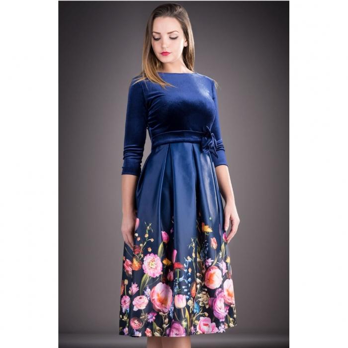 Rochie din catifea cu imprimeu floral Imani, bleumarin 1