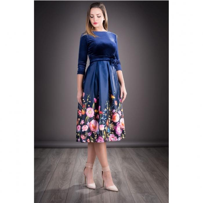 Rochie din catifea cu imprimeu floral Imani, bleumarin 0