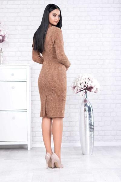 Rochie tricot cu guler larg Rona caramel - Rochii elegante de zi 2