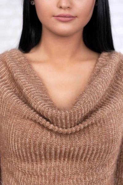 Rochie tricot cu guler larg Rona caramel - Rochii elegante de zi 1
