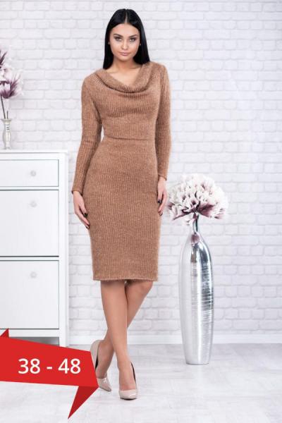 Rochie tricot cu guler larg Rona caramel - Rochii elegante de zi 0