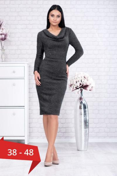 Rochie tricot cu guler larg Rona gri - Rochii office ieftine 0