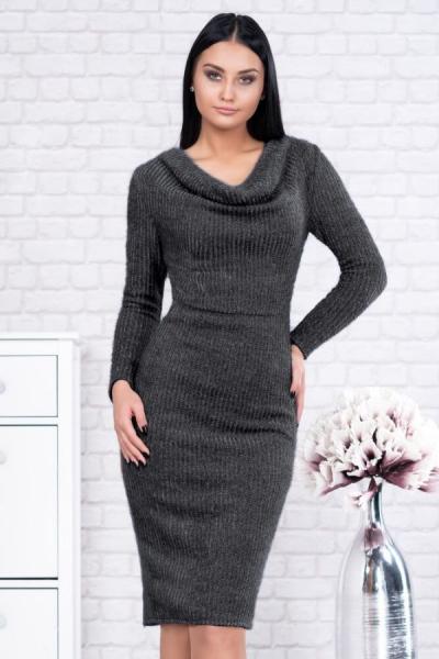 Rochie tricot cu guler larg Rona gri - Rochii office ieftine 1