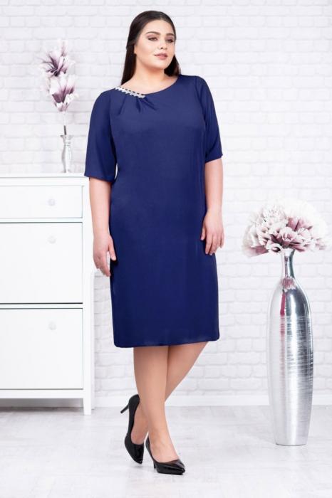 Rochie voal bleumarin pentru femei de 50 de ani - Marimi mari [0]