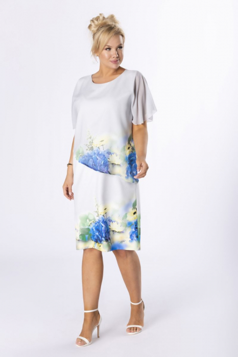 Rochie eleganta midi cu blazer si imprimeu floral - Marimi mari [0]