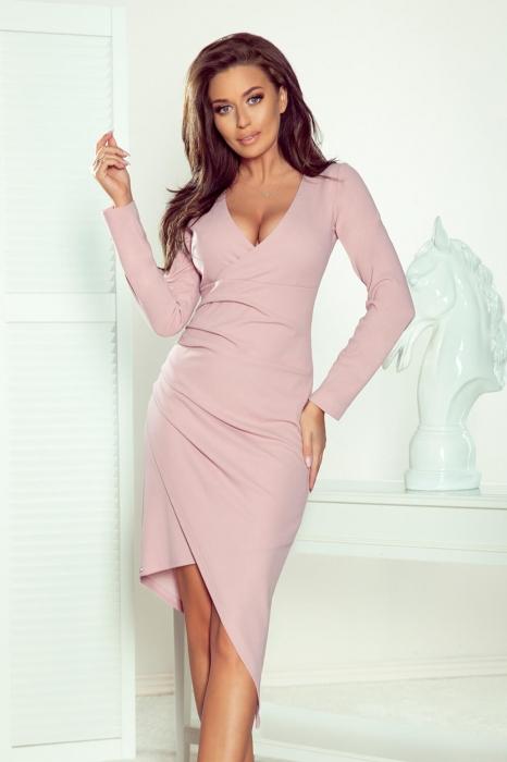 Rochii elegante de zi - Rochie eleganta asimetrica petrecuta Numoco lila 1