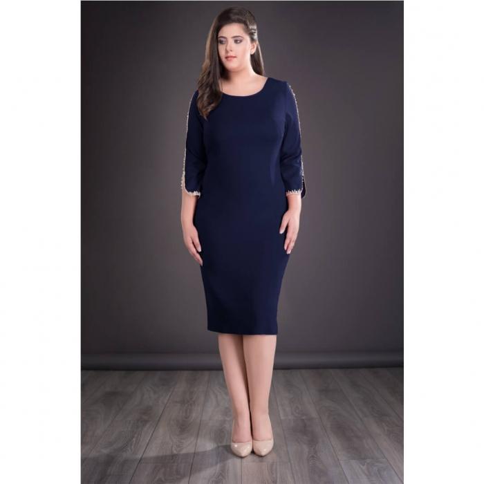 Rochie bleumarin cu dantela Otilia - Rochii midi elegante 0
