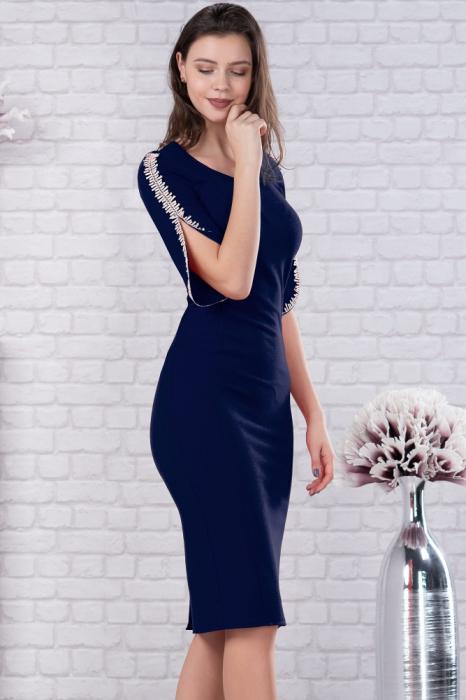 Rochie bleumarin cu dantela Otilia - Rochii midi elegante 2
