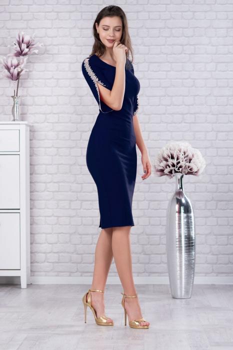 Rochie bleumarin cu dantela Otilia - Rochii midi elegante 1