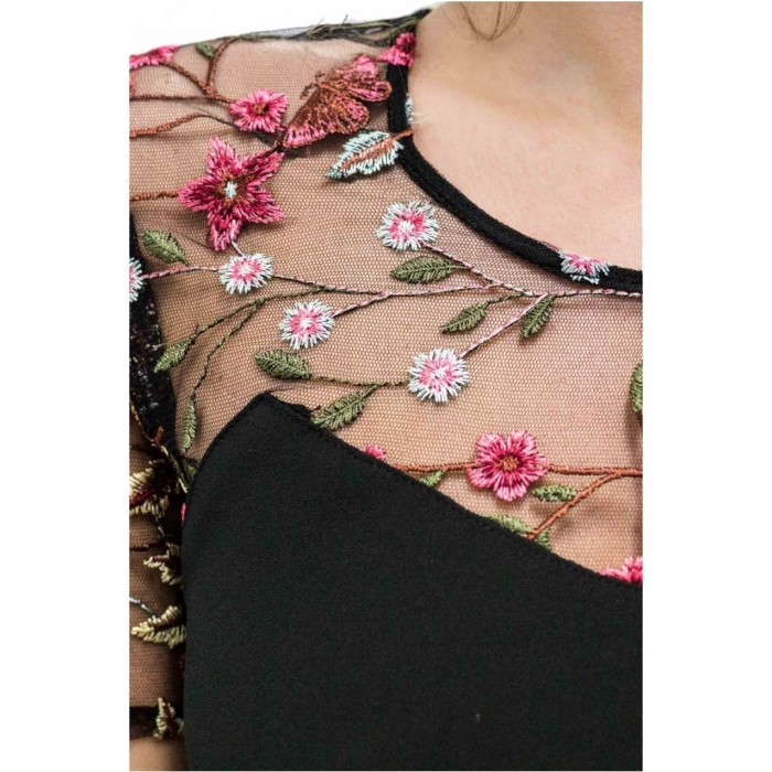 Rochie eleganta cu broderie florala Nia, negru/flori 2