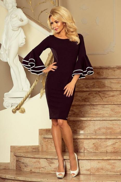 Rochii midi elegante - Rochie neagra eleganta de ocazie Carmen 0