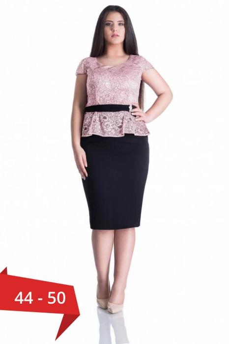 Rochie eleganta de ocazie din dantela Margareta cappucino 0
