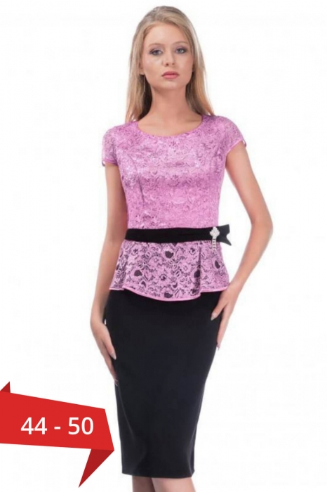 Rochie eleganta de ocazie din dantela Margareta, negru/lila 0