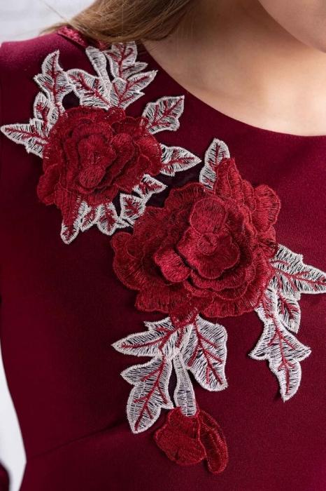 Rochii de seara xxl-Rochie de seara cu flori brodate Naomi marsala 2