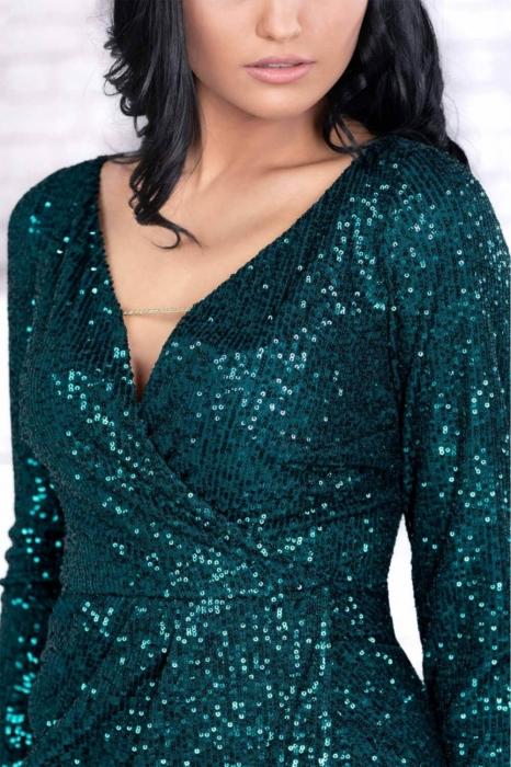 Rochie verde eleganta cu paiete - Rochii de seara midi 3