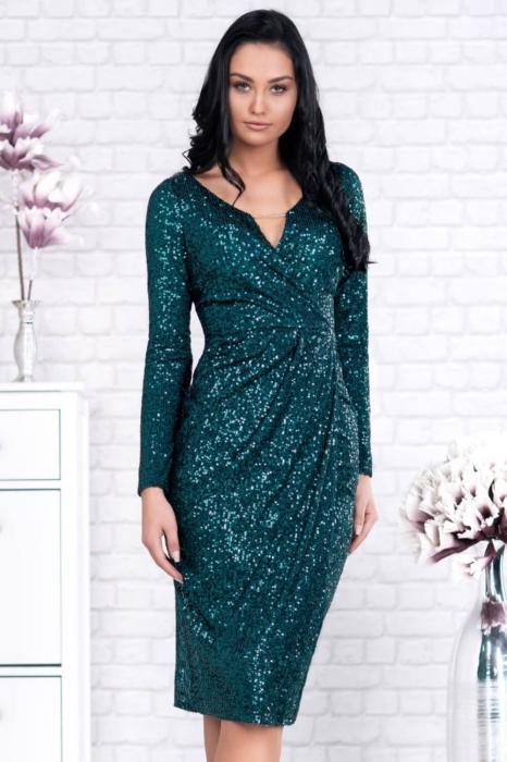 Rochie verde eleganta cu paiete - Rochii de seara midi 2
