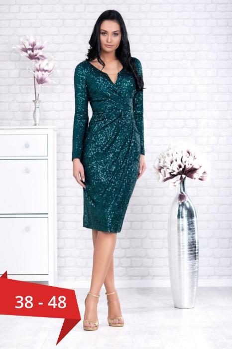 Rochie verde eleganta cu paiete - Rochii de seara midi 0