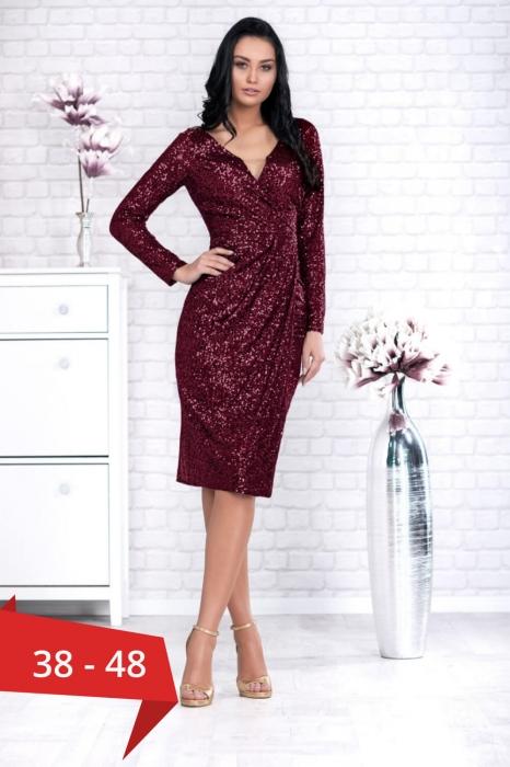 Rochii elegante ieftine - Rochie grena de seara din paiete Barbara 2