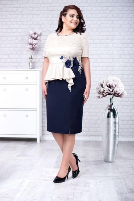 Rochie midi eleganta albastra cu dantela - Marimi mari [0]