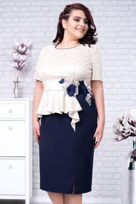 Rochie midi eleganta albastra cu dantela - Marimi mari [1]