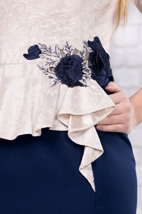 Rochie midi eleganta albastra cu dantela - Marimi mari [2]