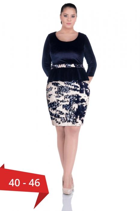 Rochii eleganta din catifea - Rochie eleganta din catifea si paiete bleumarin 0