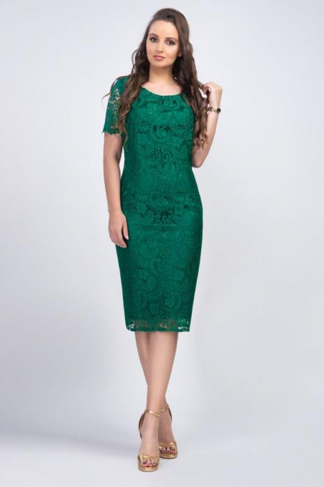 Rochie eleganta midi din dantela Iulia, verde image0