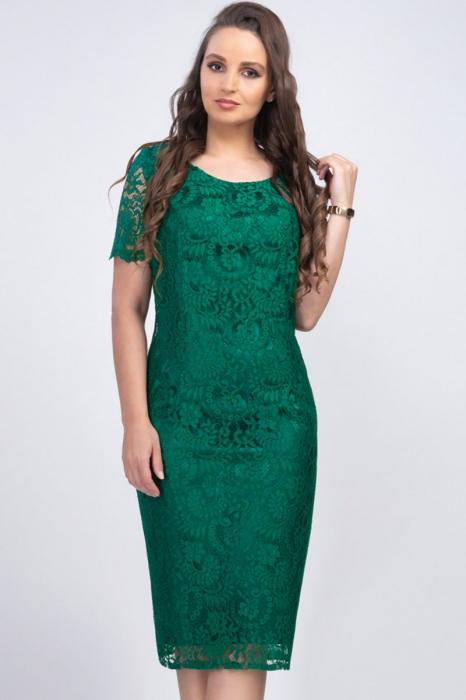 Rochie eleganta midi din dantela verde Iulia - Marimi mari [1]