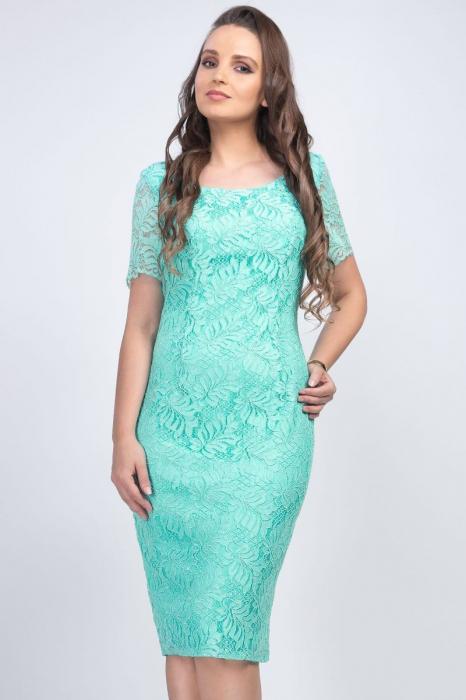 Rochie eleganta midi din dantela verde menta - Marimi mari [1]