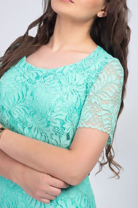 Rochie eleganta midi din dantela verde menta - Marimi mari [3]