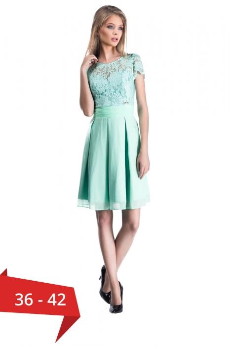 Rochii scurte dantela ieftine - Rochie eleganta din dantela Bella verde menta 0