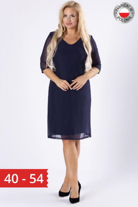 Rochie midi eleganta din voal bleumarin [0]