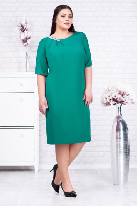 Rochie eleganta din voal verde turcoaz - Rochii marimi mari [0]
