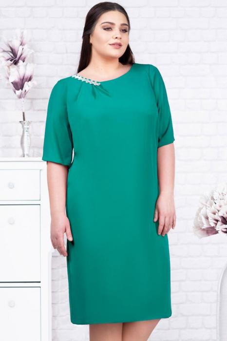 Rochie eleganta din voal verde turcoaz - Rochii marimi mari [1]