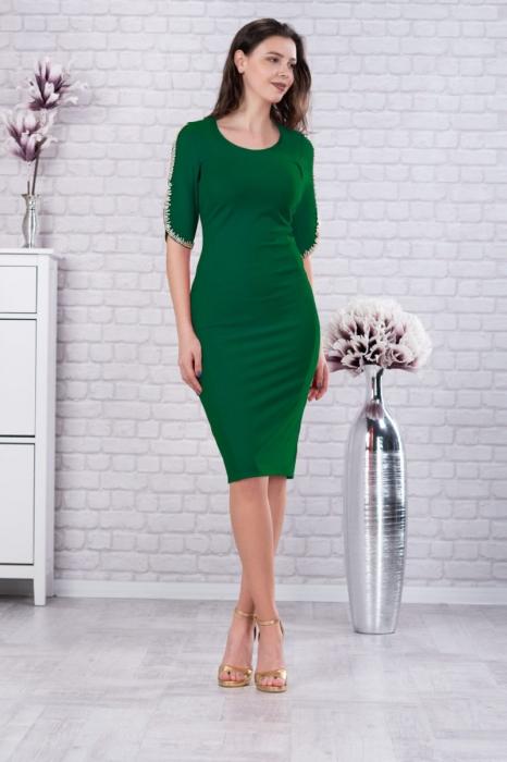Rochie eleganta midi cu dantela verde pentru femei plinute [0]