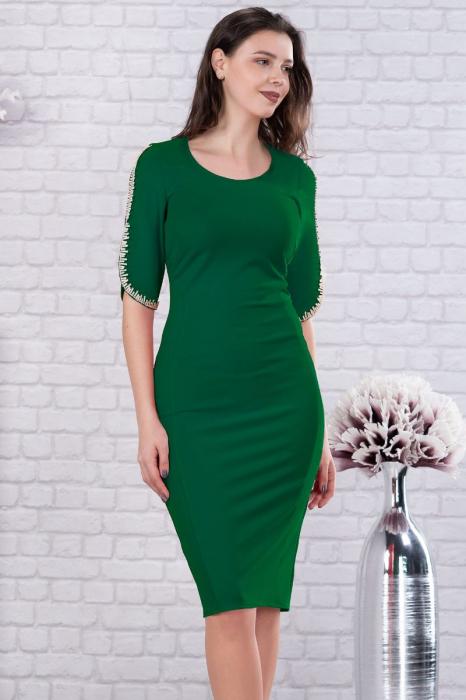 Rochie eleganta midi cu dantela verde pentru femei plinute [1]