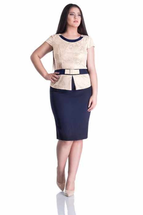 Rochie eleganta midi cu aplicatie din dantela crem - Marimi mari [0]