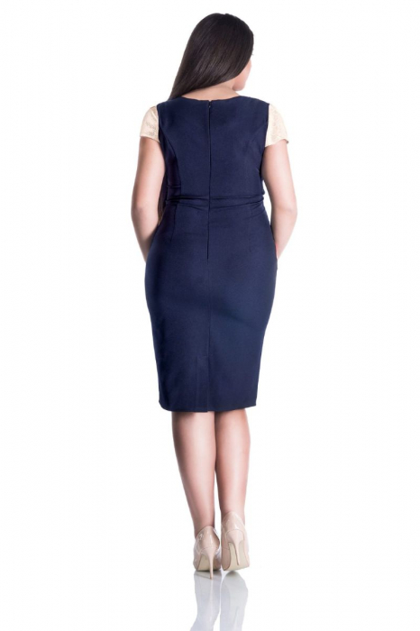 Rochie eleganta midi cu aplicatie din dantela crem - Marimi mari [1]