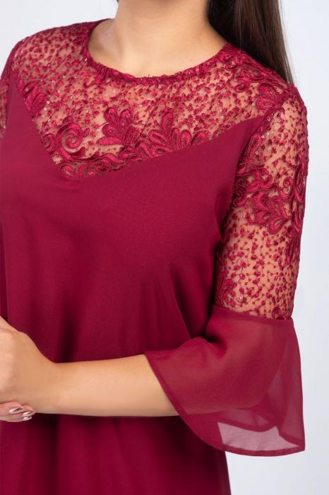 Rochie eleganta midi din voal cu broderie florala grena [2]