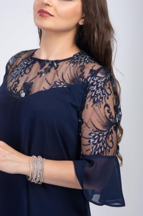 Rochie eleganta midi din voal cu dantela bleumarin - Marimi mari [2]
