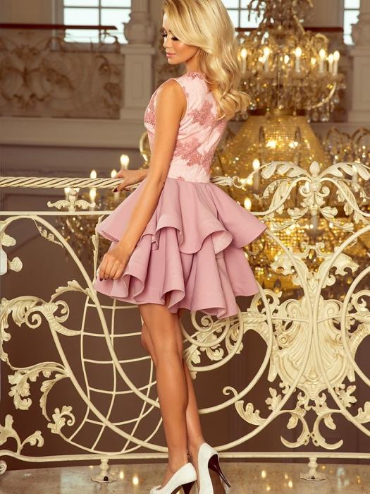 Rochie scurta de seara Charlotte roz prafuit - Rochii scurte din dantela 1