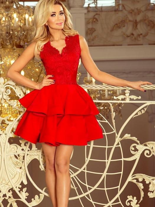 Rochie rosie scurta de seara Charlotte - Rochii scurte elegante 3