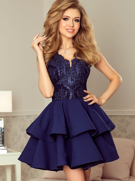 Rochie scurta de seara albastra Charlotte - Rochii scurte elegante 2
