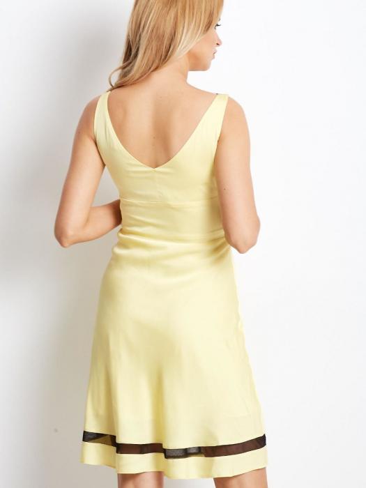 Rochie galbena eleganta cu plasa neagra transparenta [1]