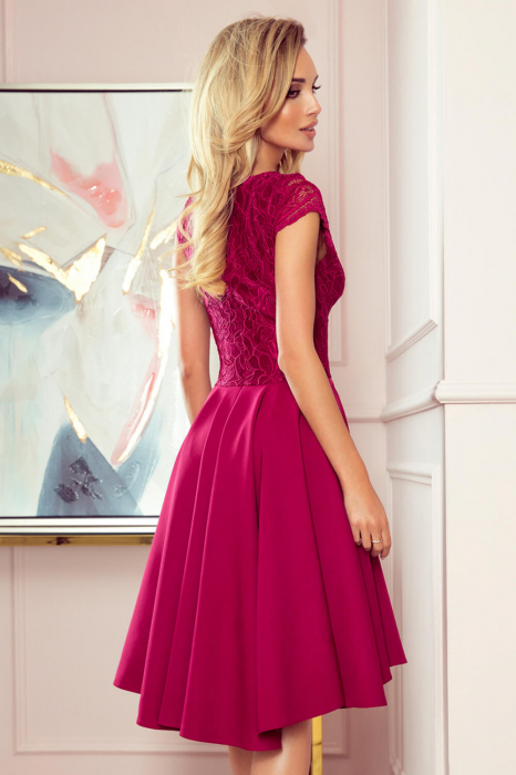 Rochii asimetrice - rochie grena de seara asimetrica Patricia 1