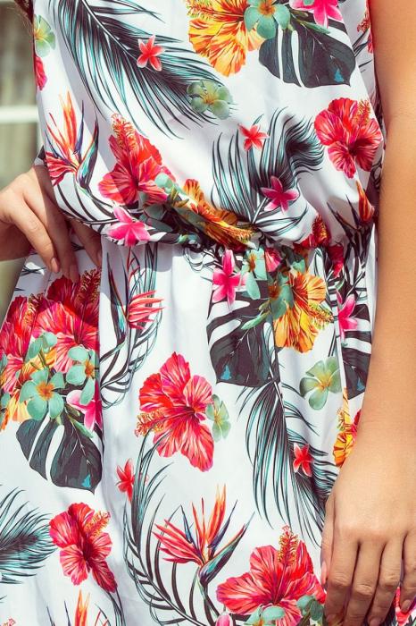 Rochie lunga alba cu imprimeu floral si bretele subtiri [2]