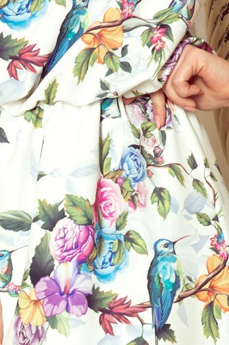 Rochie lunga de zi cu imprimeu trandafiri multicolori [2]