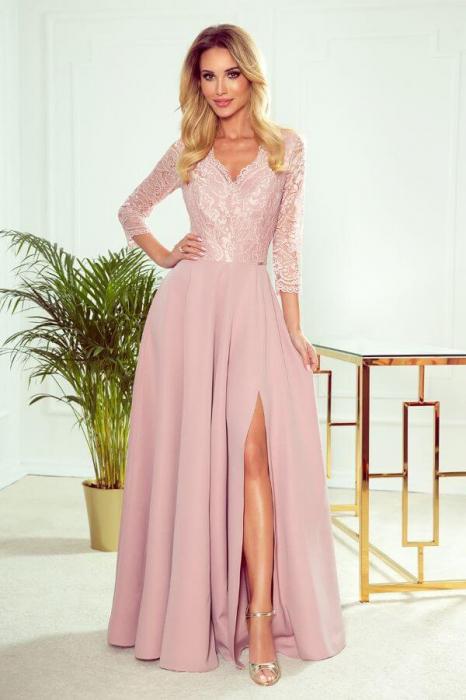 Rochie lunga eleganta - Rochie de seara lunga roz 0
