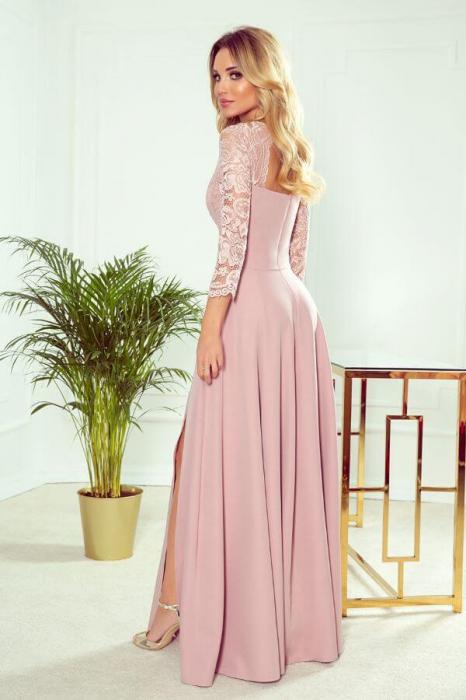 Rochie lunga eleganta - Rochie de seara lunga roz 1